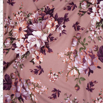 Tan and Plum on Mauve Floral Double Brushed Poly Spandex Fabric By The Yard