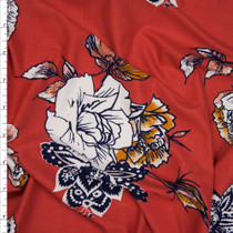 White, Navy, Mauve, and Gold Hand Drawn Floral on Red Orange Double Brushed Poly Spandex Fabric By The Yard