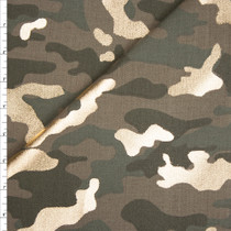 Metallic Gold on Green Camouflage Print Designe Stretch Twill from '7 for all Mankind' Fabric By The Yard