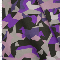 Grey and Purple Abstract Camouflage Designer Stretch Twill from '7 for all Mankind' Fabric By The Yard