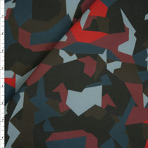 Red, Teal, and Charcoal Abstract Camouflage Designer Stretch Twill from '7 for all Mankind' Fabric By The Yard