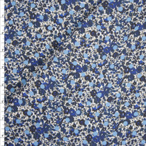 Light Blue Polka Dots on Blue Mini Floral Designer Stretch Twill from 'Hudson Jeans' Fabric By The Yard