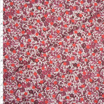 Bright Red Polka Dot on Wine Mini Floral Designer Stretch Twill from 'Hudson Jeans' Fabric By The Yard