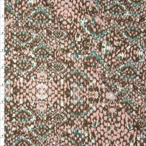 Blush, Tan, and Teal Snakeskin Print Designer Stretch Twill from 'Hudson Jeans' Fabric By The Yard