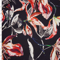 Red and White Modern Lily Floral on Black Designer Stretch Cotton Sateen from '7 for all Mankind' Fabric By The Yard