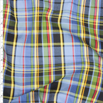 Light Blue, Navy, Red, and Green Plaid Light Midweight Cotton Poplin from 'Marc Jacobs' Fabric By The Yard