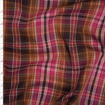 Hot Pink and Brown Designer Plaid Cotton Shirting from 'Marc Jacobs' Fabric By The Yard