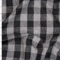 "Grey and Black 1"" Buffalo Plaid Lightweight Flannel Fabric By The Yard"