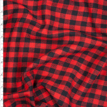 """Red and Black 3/8"""" Buffalo Plaid Lightweight Flannel Fabric By The Yard"""