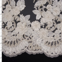 Ivory Leaves and Flowers Beaded Bridal Lace Fabric By The Yard