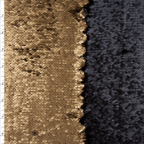 Matte Gold and Black Reversible Two Tone Sequin Fabric