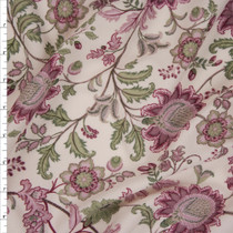 Dusty Rose, Plum, and Sage on Ivory Scrolling Floral Liverpool Fabric By The Yard