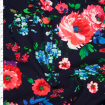 Vibrant Pink and Aqua Rose Floral on Navy Liverpool Fabric By The Yard