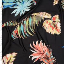 Pastel Palms on Black Poly/Lycra Stretch Knit Fabric By The Yard