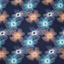 Navy, Aqua, and Rust Line Flower Poly/Lycra Stretch Knit Fabric By The Yard