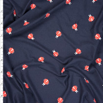 Red and White Ladybugs on Dark Navy Double Brushed Poly Spandex Fabric By The Yard