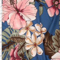 Pink on Slate Blue Island Floral Double Brushed Poly Spandex Fabric By The Yard
