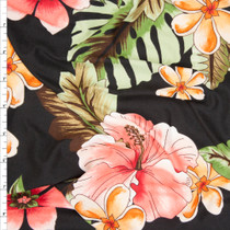 Bright Coral on Black Island Floral Double Brushed Poly Spandex Fabric By The Yard