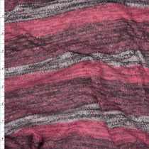 Plum, Fuchsia, and Grey Heather Stripe Lightweight Sweater Knit