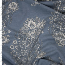 Ivory on Grey Floral Paisley Lightweight French Terry Fabric By The Yard