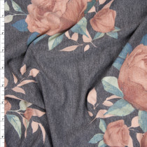 Soft Peach on Grey Lightweight French Terry Fabric By The Yard