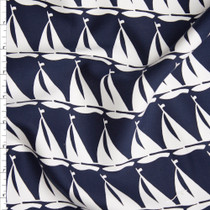 White Sailboats on Navy Midweight Designer Cotton Twill Fabric By The Yard