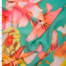 Neon Pink and Orange on Bright Mint Floral Bubble Crepe Fabric By The Yard