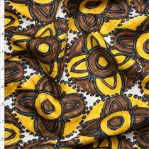 Yellow and Brown Floral Medallion Embroidered Stripe Lightweight Sateen from 'Milly' Fabric By The Yard