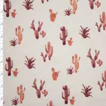 Wine Cactus on Offwhite Double Brushed Poly Spandex Fabric By The Yard