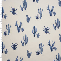 Navy Blue Cactus on Offwhite Double Brushed Poly Spandex Fabric By The Yard