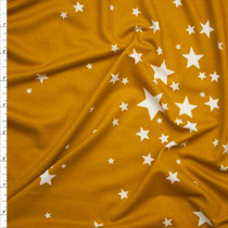 White Stars on Gold Double Brushed Poly Spandex Fabric By The Yard