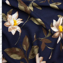 Ivory and Brown Lilies on Navy Rayon Challis Fabric By The Yard