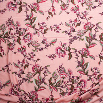 Pink and Olive Scrolling Floral on Coral Rayon Challis Fabric By The Yard - Wide shot
