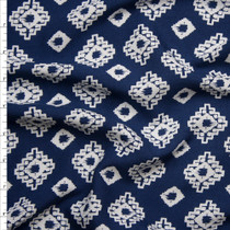 White Southwestern Medallions on Navy Blue Rayon Challis Fabric By The Yard