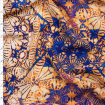 Rich Blue and Orange Kaleidoscope Diamond Rayon Challis Fabric By The Yard