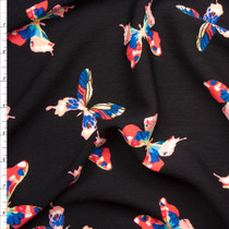 Bright Multi Butterflies on Black Rayon Gauze Fabric By The Yard