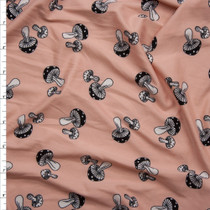 Black and White Hand Drawn Mushrooms on Blush Double Brushed Poly Spandex Fabric By The Yard