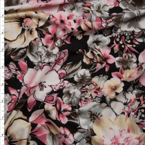 Pink and Grey on Black Floral Print Double Brushed Poly Spandex Fabric By The Yard