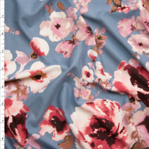 Pink Watercolor Floral on Solid Grey Double Brushed Poly Spandex  Fabric By The Yard