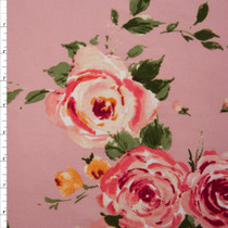 Pink Paint Daub Roses on Soft Pink Double Brushed Poly Spandex Fabric By The Yard