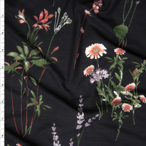 Pink, Lavender, and Green Wildflowers on Black Double Brushed Poly Spandex Fabric By The Yard