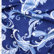 Light Blue and White on Dark Denim Blue Liverpool Knit Fabric By The Yard