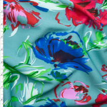 Red, Pink, and Blue Vibrant Paint Floral on Seafood Green Liverpool Knit Fabric By The Yard