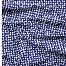 Navy Blue and White Basket Weave Print Liverpool Knit Fabric By The Yard