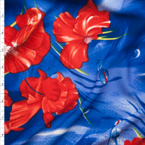 Red Flowers on Brushstroke Blue Background Liverpool Knit Fabric By The Yard