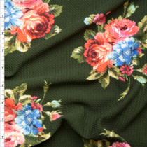 Pink and Blue Floral Clusters on Olive Braided-Look Liverpool Knit Fabric By The Yard