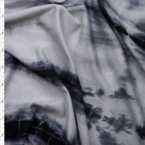 Silver and Black Streak Tye Dye Lightweight Stretch Lightweight French Terry Fabric By The Yard