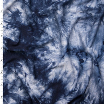 Navy and Light Grey Tie Dye Stretch Rayon/Lycra Jersey Knit Fabric By The Yard