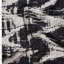 Black and Ivory Grunge Chevron Textured Double Knit Fabric By The Yard