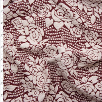 Wine and Ivory Dots and Roses Textured Double Knit Fabric By The Yard
